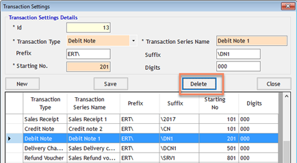 Detele Transaction Series in GST Billing Software