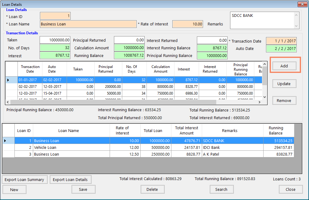 View Current Loan Transactions in the grids of Loan Interest Calculator